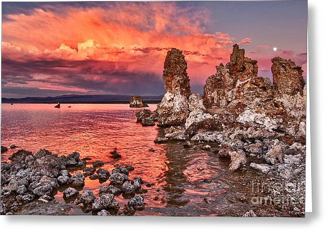 Fire - Sunset View Of The Strange Tufa Towers Of Mono Lake And Moonrise In California. Greeting Card by Jamie Pham