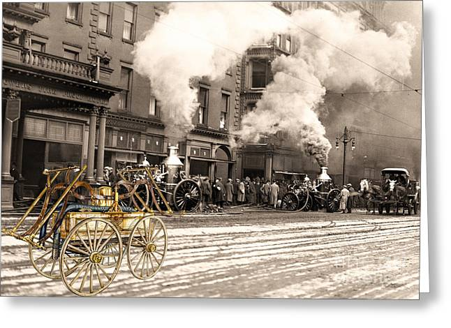 Fire Truck In New York 1890 Collage Greeting Card
