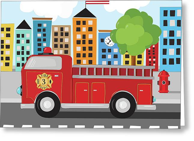 Fire Truck Greeting Card by Kathy Middlebrook
