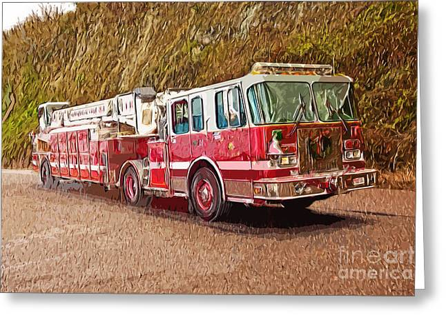 Fire Truck Ladder Unit. Greeting Card