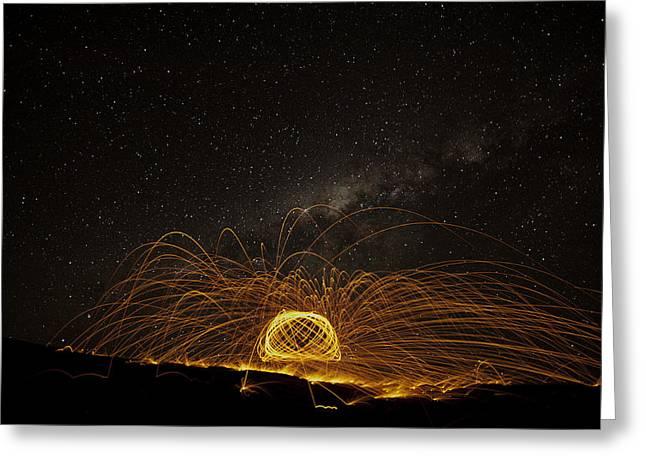 Fireball Under The Great Dome Greeting Card by Babur Yakar