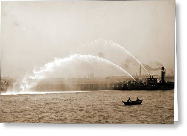 Fireboat 44 In Action, Boston, Mass, Fireboats, Waterfronts Greeting Card