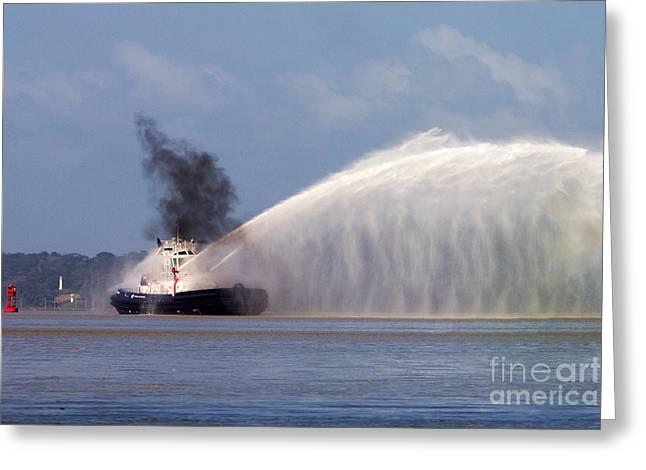 Fireboat Tug Greeting Card