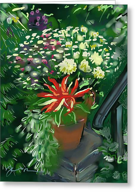 Greeting Card featuring the painting Firecracker Peppers by Jean Pacheco Ravinski