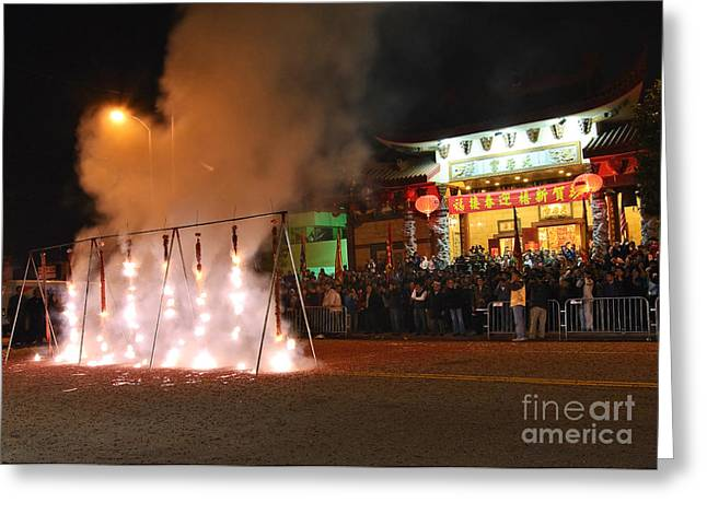 Firecrackers At Night During The Chinese New Years Celebration. Greeting Card by Jamie Pham