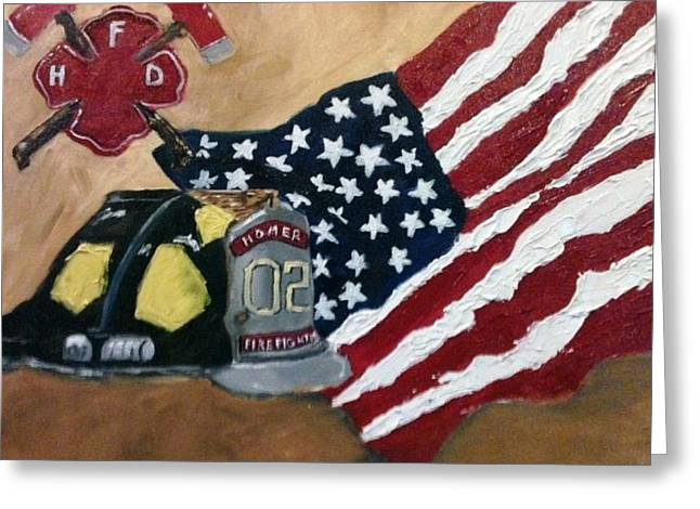 Firefighers Honored Greeting Card by Jenell Richards