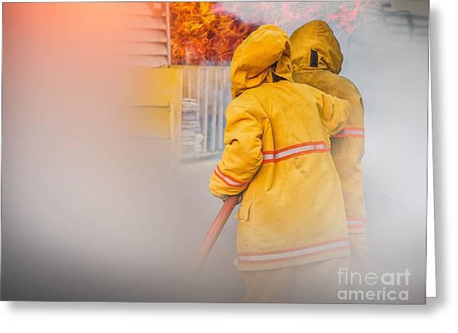 Firefighter  Greeting Card by Anek Suwannaphoom