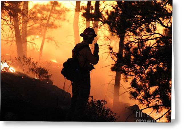 Greeting Card featuring the photograph Firefighter At Night On The White Draw Fire by Bill Gabbert
