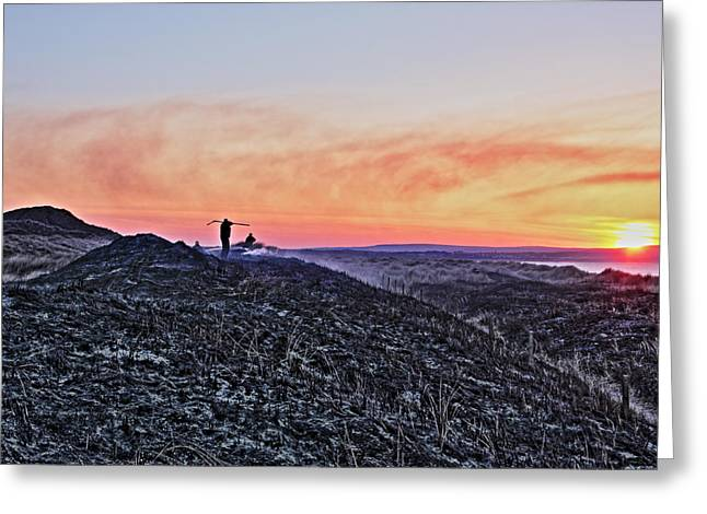 Firefighter At Sunset Greeting Card by Tony Reddington