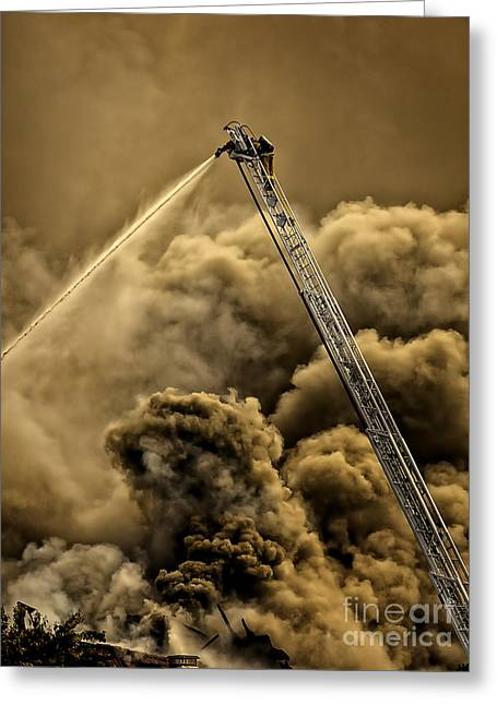Greeting Card featuring the photograph Firefighter-heat Of The Battle by David Millenheft