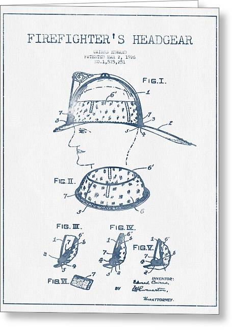 Firefighter Headgear Patent Drawing From 1926- Blue Ink Greeting Card by Aged Pixel