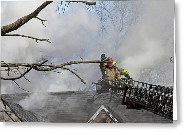 Firefighters Attending A House Fire Greeting Card by Jim West