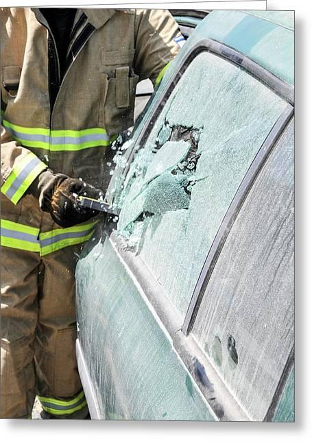 Firefighters Break Windshield Greeting Card