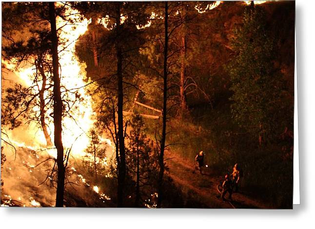 Greeting Card featuring the photograph Firefighters Burn Out On The White Draw Fire by Bill Gabbert