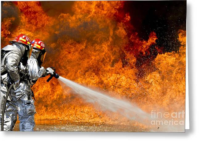 Firefighters Combat A Jp-8 Jet Fuel Greeting Card