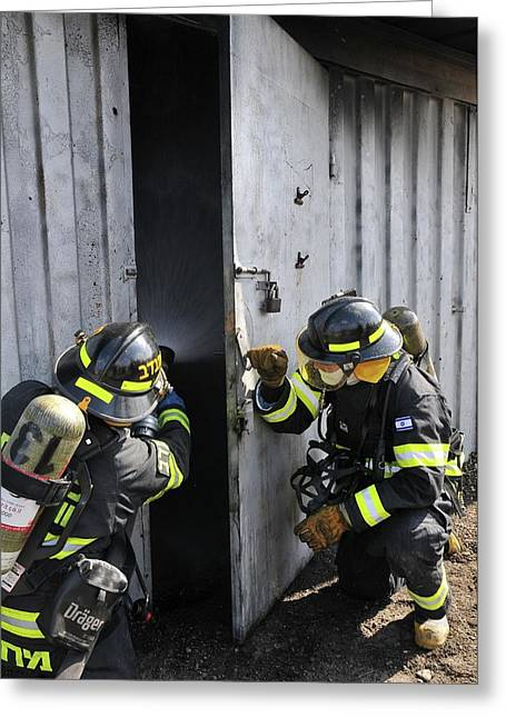 Firefighters With Protective Equipment Greeting Card