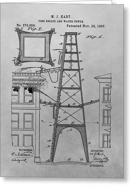 Firefighting Patent Drawing Greeting Card