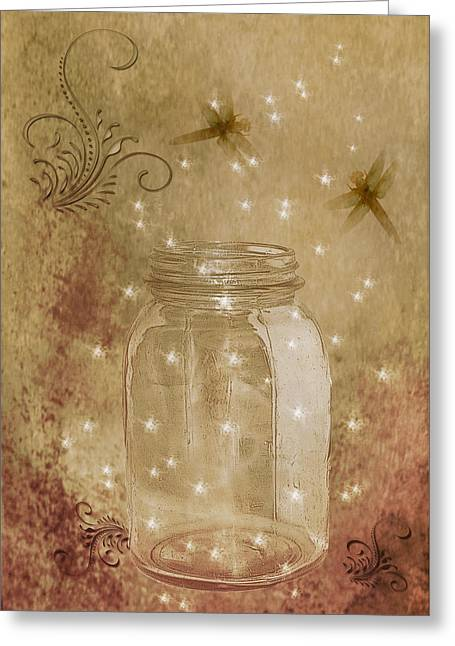 Fireflies And Dragonflies Greeting Card by TnBackroadsPhotos