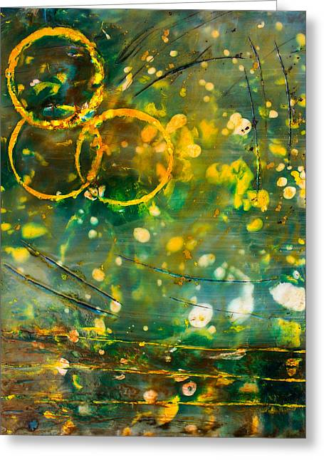 Fireflies Encaustic Greeting Card