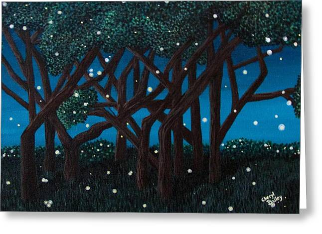 Greeting Card featuring the painting Fireflies by Cheryl Bailey