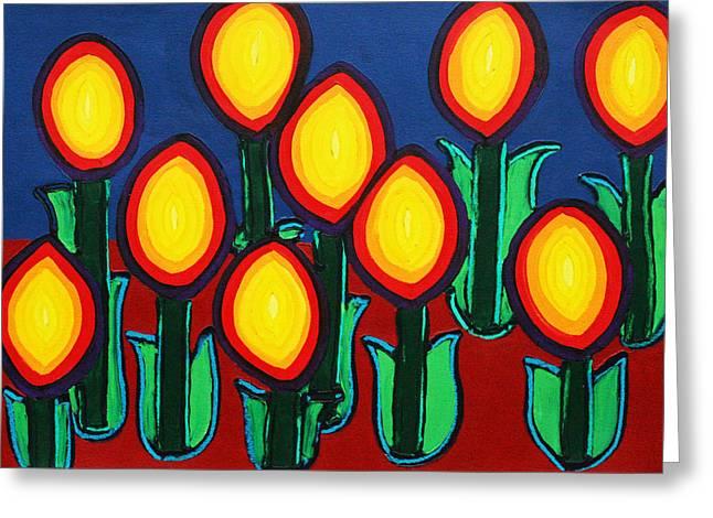 Fireflowers Greeting Card by Matthew Brzostoski