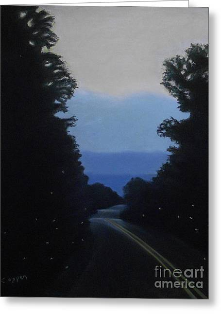 Greeting Card featuring the painting Firefly Walk by Robert Coppen