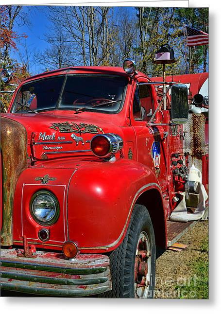 Fireman - A Very Old Fire Truck Greeting Card