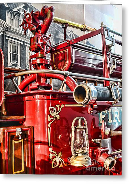 Fireman - Antique Brass Fire Hose Greeting Card by Paul Ward