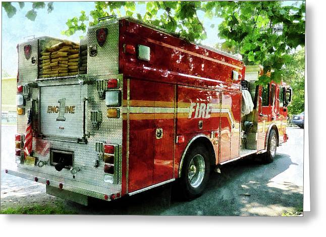 Fireman - Back Of Fire Truck Greeting Card by Susan Savad