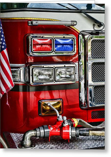 Fireman - Fire Engine Greeting Card