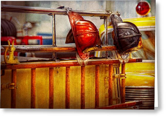 Fireman - Hat - Waiting For A Hero  Greeting Card by Mike Savad
