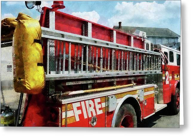 Fireman - Long Ladder On Fire Truck Greeting Card