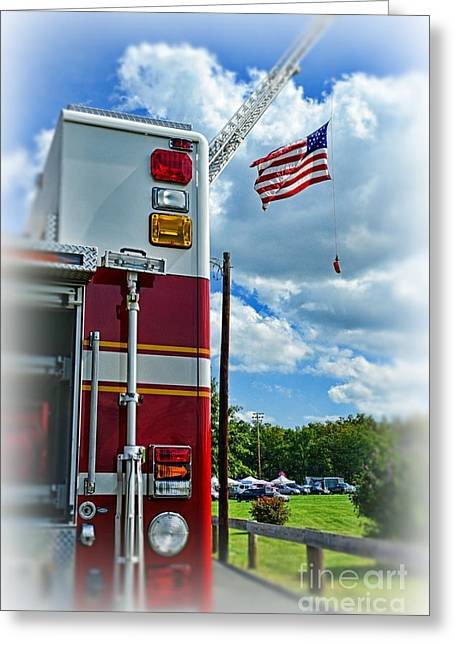 Fireman - Proudly They Serve Greeting Card by Paul Ward