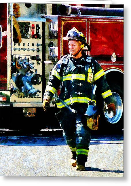 Fire Engines Greeting Cards - Fireman Greeting Card by Susan Savad