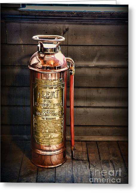 Fireman - Vintage Fire Extinguisher Greeting Card by Paul Ward