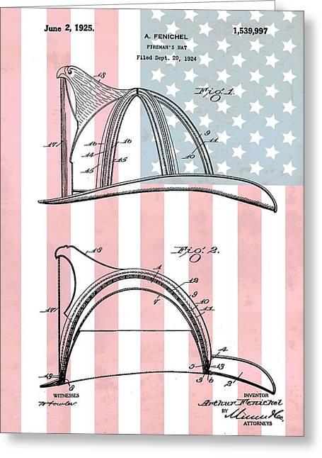 Fireman's Helmet American Flag Greeting Card by Dan Sproul
