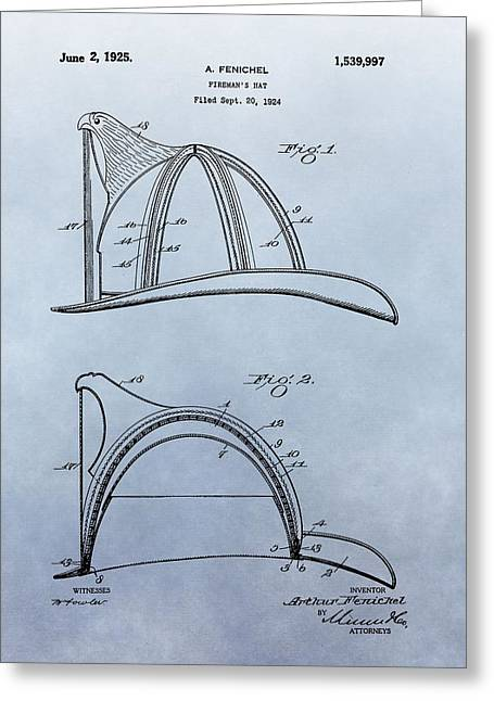 Fireman's Helmet Patent Greeting Card by Dan Sproul