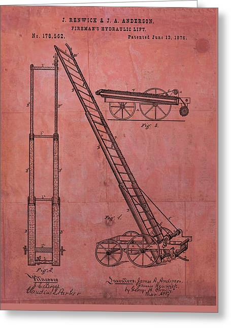 Fireman's Hydraulic Lift Patent Greeting Card by Dan Sproul