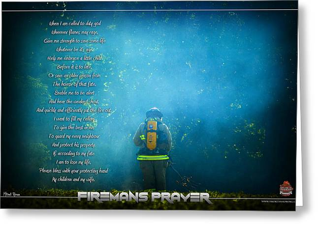Firemans Prayer Greeting Card by Mitchell Brown