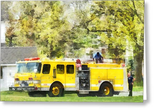 Firemen - Back At The Firehouse Greeting Card by Susan Savad