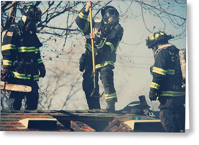 Firemen Greeting Card by Laurie Search