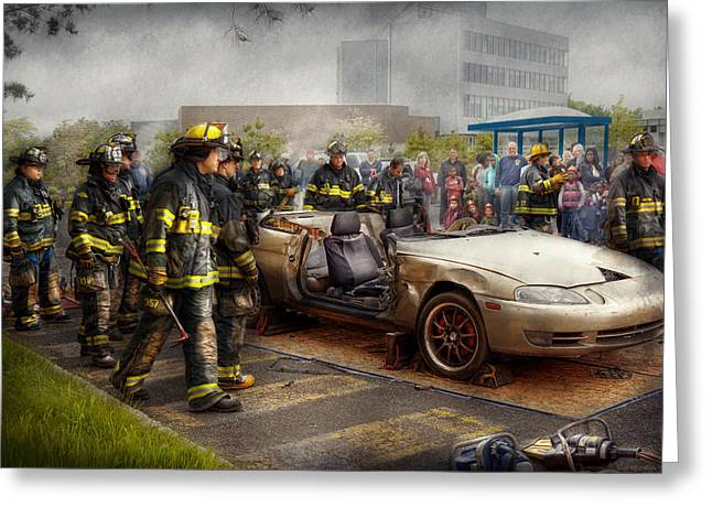 Firemen - The Fire Demonstration Greeting Card by Mike Savad