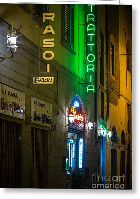 Firenze Neon Greeting Card by Inge Johnsson