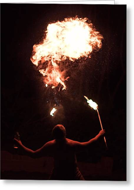 Firespitter Greeting Card by Rick Starbuck