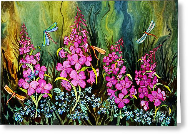 Fireweed And Dragonflies Greeting Card