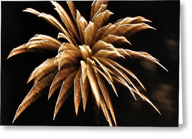 Firework Abstract - Golden Brown Greeting Card by Marianna Mills