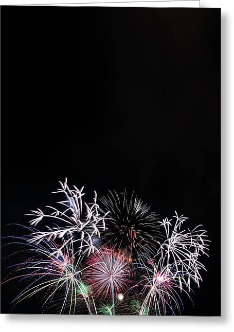 Firework Display At Night Sky Greeting Card by Panoramic Images