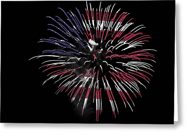 Firework Over Flag Greeting Card by Robert Graybeal