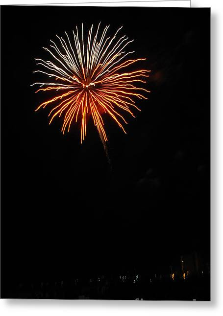 Fireworks - White And Orange Greeting Card by Gayle Melges