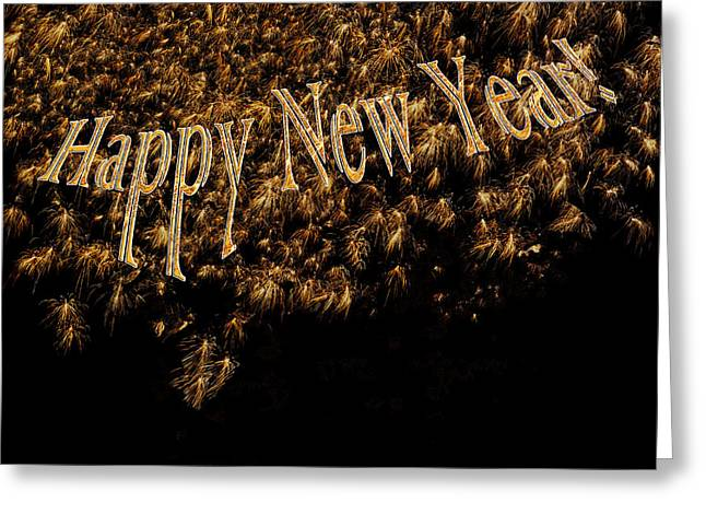 Fireworks 2013 In Elegant Gold And Black Greeting Card by Marianne Campolongo